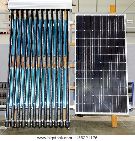 Photovoltaic Panel and Solar Water Heating Renewable Energy