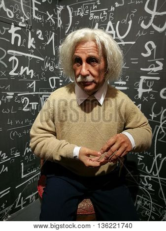 Da Nang, Vietnam - Jun 20, 2016: Albert Einstein wax statue on display at Ba Na Hills mountain resort. Einstein developed the general theory of relativity, one of the two pillars of modern physics.