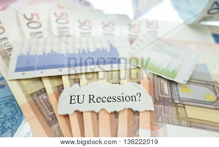 EU Recession news headline with stock market charts and Euro notes