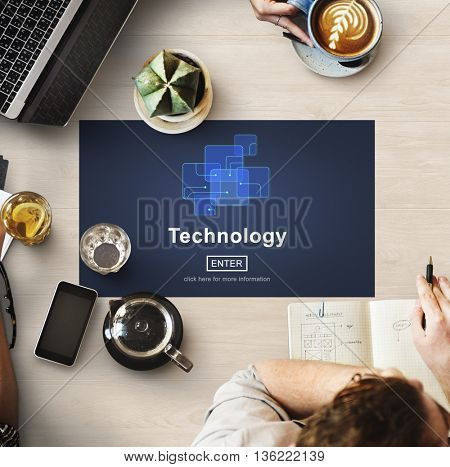 Technology Connection Online Networking Medias Concept