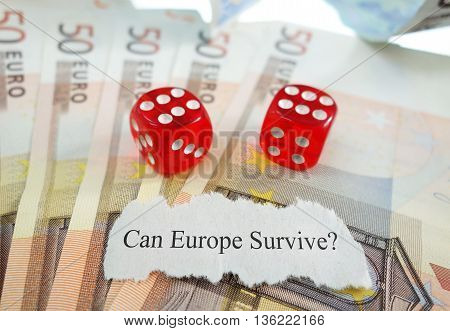 Can Europe Survive newspaper headline with dice and money