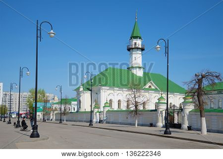 KAZAN, RUSSIA - MAY 02, 2016: The mosque of Al-Marjani in the Old Tatar Sloboda, sunny may day. Religious landmark  of the city Kazan, Tatarstan