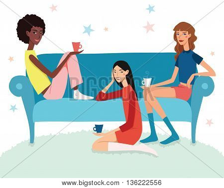 Vector Teenage Girls Tea Party Illustration With Three Pretty Friends Celebrating Eating Cake On Couch. Perfect for a fun sleepover or pajama party event. Featuring young women, party hats, desert and stars.