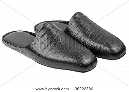 Pair of black genuine leather mens slippers isolated on white background with clipping path