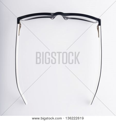 Top view of Modern Eyeglasses on White Background