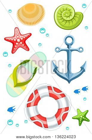 Set of seaside objects collection seashells slippers anchor and life buoy vector illustration isolated on white background