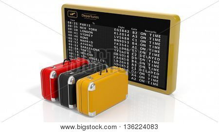 3d rendering Airport timetable with three pieces of luggage on white background
