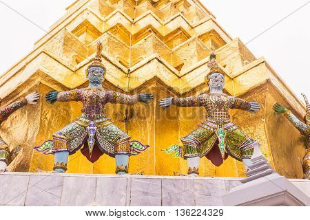 Demon Guardian at the Emerald Buddha temple or