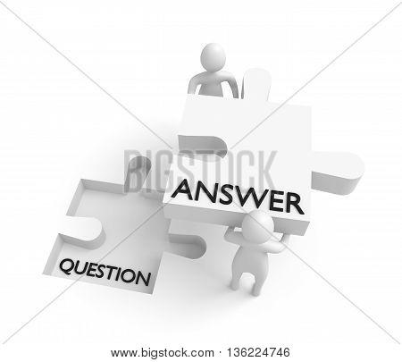Puzzle piece: question and answer 3d men 3d illustration