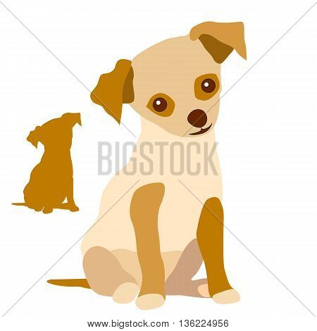 Puppy red white silhouette cartoon vector set