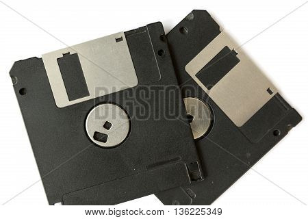 Two Black Floppy Disks