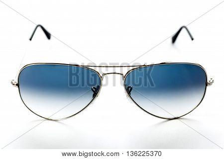 Blue Aviator Sunglasses On White