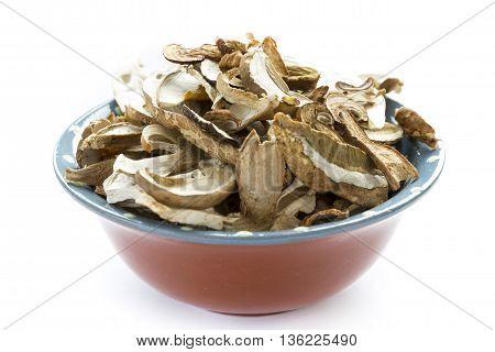 Dried Boletus Mushrooms In Bowl