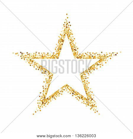 Golden Glitter Frame in the Form of Star with Copy Space for Text