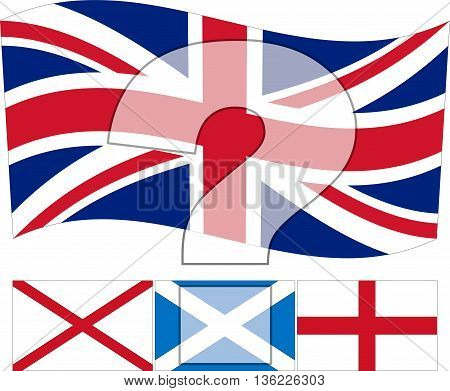 Un United Kingdom - An illustration of the United Kingdom flag with the Irish Scottish and English flags underneath and a question mark overlayed on top
