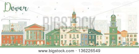 Abstract Dover Skyline with Color Buildings. Vector Illustration. Business Travel and Tourism Concept with Historic Buildings. Image for Presentation Banner Placard and Web Site.