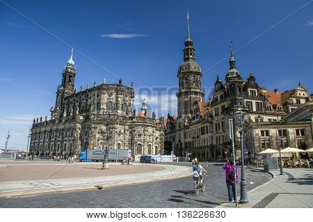 DRESDEN, GERMANY - JUNE 5, 2013:Cathedral and Dresden Castle. View from the Dresden Gallery