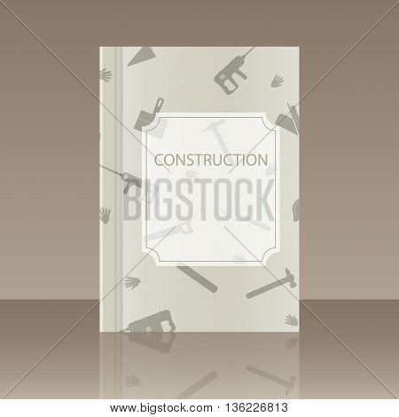 Book about the construction. Realistic image of the object with reflection