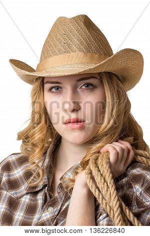A Woman Is In A Cowboy Hat With A Rope On Her Shoulder.