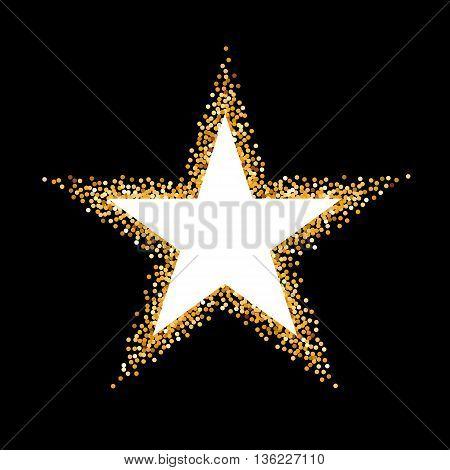 Golden Glitter Frame in the Form of Star on Black