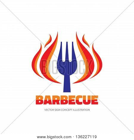 Barbecue BBQ - vector logo concept illustration in flat style. Red fire flame and fork sign. Hot grill logo symbol. Vector logo template. Design element.