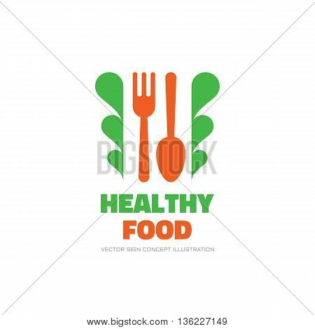 Healthy organic food - vector logo concept illustration in flat style. Fork, spoon and green lives minimal illustration. Vector logo template. Design element.
