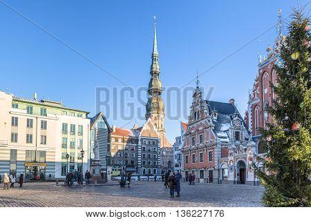 RIGA, LATVIA - DECEMBER 30 2015: City Hall square at Christmas Holidays