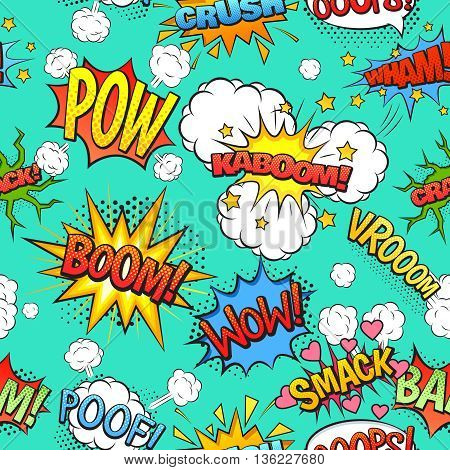 Comics speech and exclamations boom wow bubbles clouds seamless pattern with bright green background abstract vector illustration