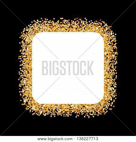 Golden Glitter Frame in the Form of Square on Black