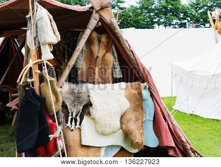 Fur and wool stand on a medieval market