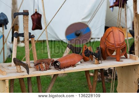 dealers stand and Medieval fans on a medieval festival
