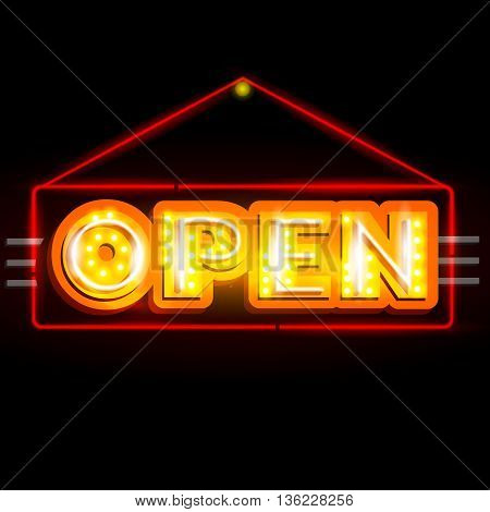 easy to edit vector illustration of Neon Light signboard for Open sign