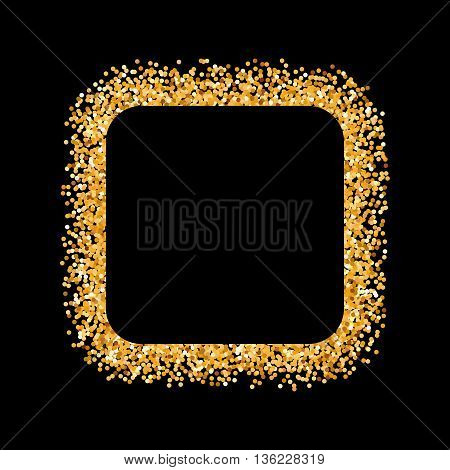 Golden Glitter Frame in the Form of Square on Black Background