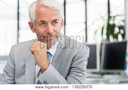 Portrait of a proud businessman in office thinking about a new plan. Portrait of mature businessman with hand on chin looking away. Close up face of a satisfied senior man sitting at a desk in office.