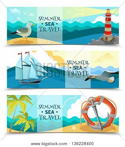 Nautical horizontal banners set of sea background with sailboat life ring palm trees on uninhabited island design elements flat vector illustration