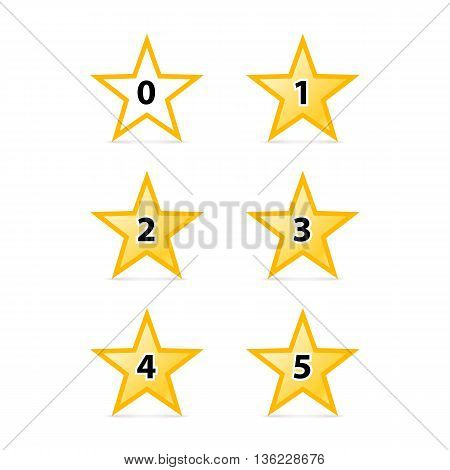 Simple Stars Rating. Yellow Shapes with Shadow on White Background