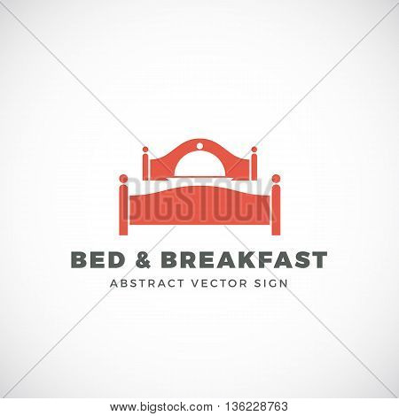 Bed and Breakfast Abstract Vector Sign. Dish Cover Negative Space Symbol Incorporated in Sleep Icon. Isolated.