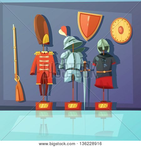 Color cartoon illustration depicting museum exhibit about armor and historic military uniform vector illustration