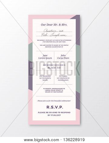 Vector Wedding Invitation Template. Modern Typography and Pastel Violet, Pink Colors. Classy Design Card with Soft Realistic Shadow. Isolated.