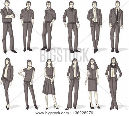 Group of business people. Sketch silhouette.