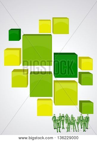 Green 3d cubes with business people. Infographic design. Sketch silhouette.