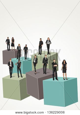 3d cubes with business people. Infographic design. Sketch silhouette.