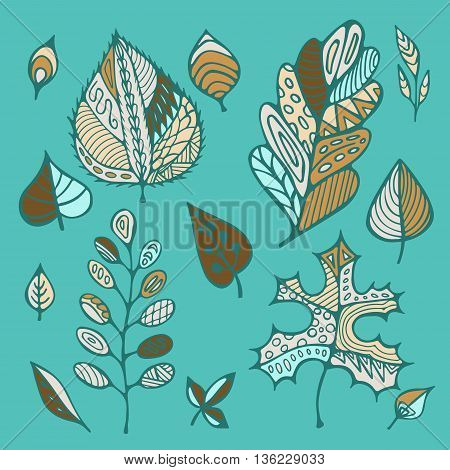 stock vector hand drawing set of leaf. doodle pattern