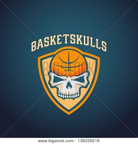 Basket Skulls Abstract Vector Basketball Logo Template. Sport Team or Championship Emblem. University League Sign. On Darck Background.