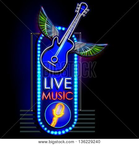 easy to edit vector illustration of Neon Light signboard for Live Music