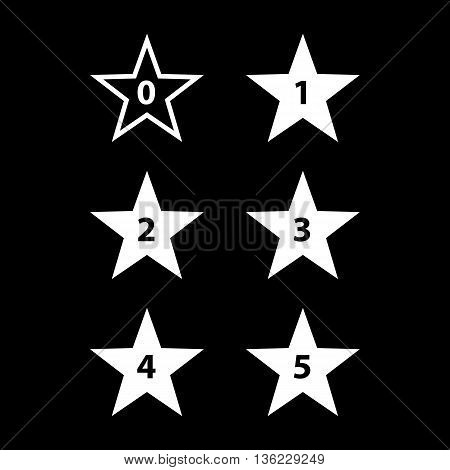 Simple Stars Rating. White Shapes on Black Background