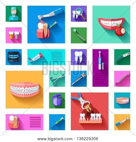 Different colorful dentist icons set with teeth examination treatment and equipment for care and treatment on white background flat isolated vector illustration