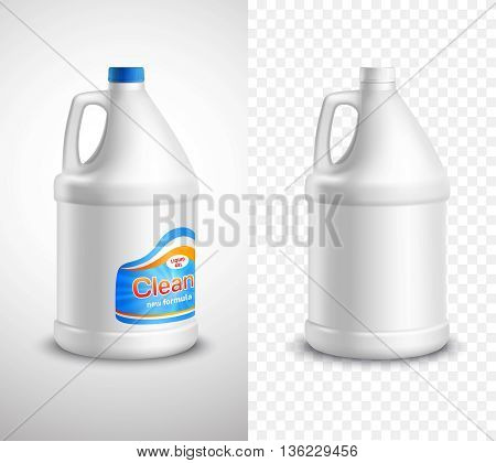Product package design vertical banners with blank and labeled laundry detergent bottles on white and plaid backgrounds realistic isolated vector illustration