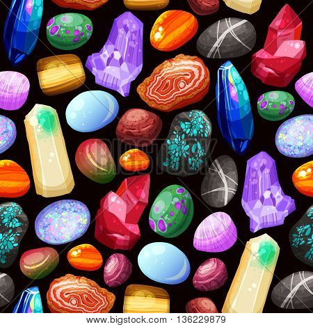 Seamless pattern with shiny crystals stones and rocks of various shape size and color on black background cartoon vector illustration