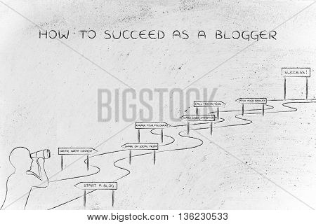 How To Succeed As A Blogger, Man Looking At Intricate Path